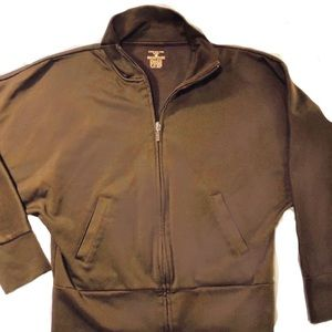 Jones New York NWT Brown Zippered Sweat Jacket Sm